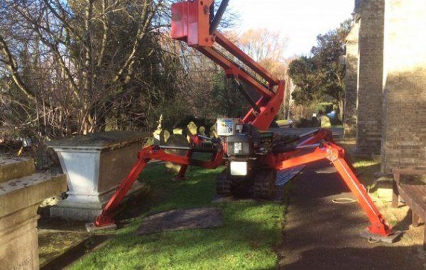 Tree surgery work in Woodbridge church grounds